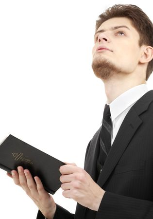 picture of man with holy bible over white photo