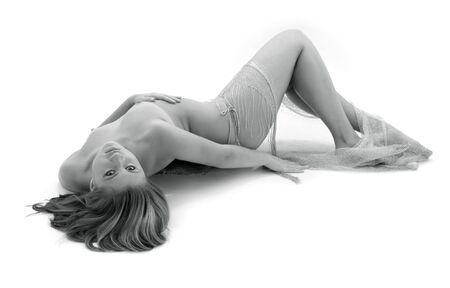 desnudo artistico: monocromo art�sticas de desnudos foto chica desnuda con Fishnet