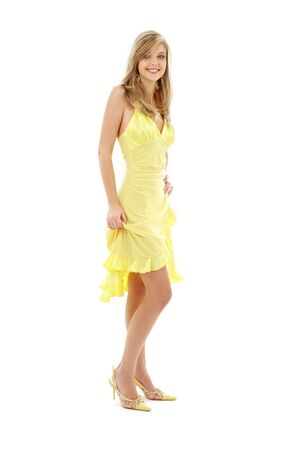 classical pin-up image of pretty lady in yellow dress over white Stock Photo - 2514566