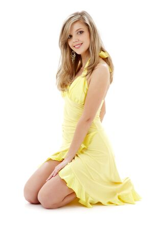 classical pin-up image of pretty lady in yellow dress over white Stock Photo - 2526615