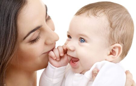 picture of happy mother with baby over white Stock Photo - 2533469
