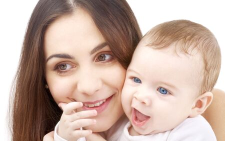 picture of happy mother with baby over white Stock Photo - 2538586