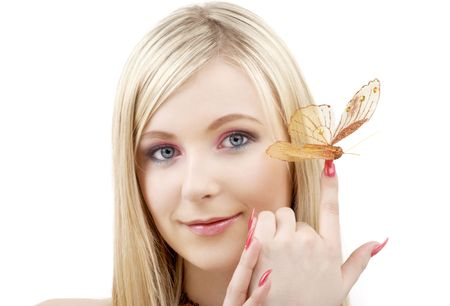 picture of lovely blond with butterfly over white photo