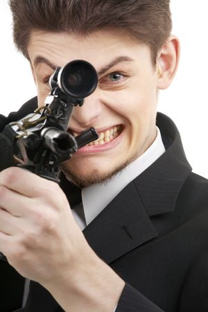 picture or terrorist with a gun over white Stock Photo - 2547674