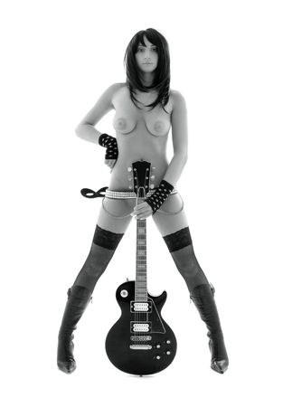 monochrome picture of girl with black electric guitar over white
