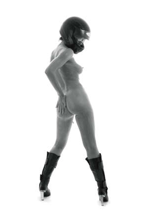 monochrome artistic nudity picture of naked girl in black helmet Stock Photo - 2562735