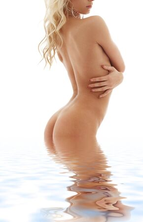 picture of healthy blonde torso in water photo
