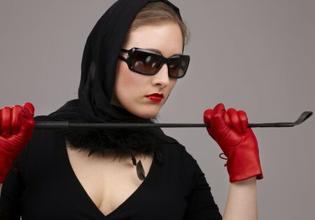 portrait of lady in black headscarf and red gloves with crop Stock Photo - 2664779