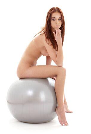 ni�a desnuda: Cl�sica foto de desnudos art�sticos desnudos ni�a de plata en pelota  Foto de archivo