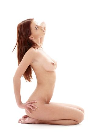 bright picture of kneeled healthy naked redhead  Stock Photo - 2664832