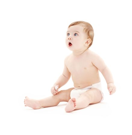picture of baby boy in diaper with toothbrush Stock Photo - 2711981