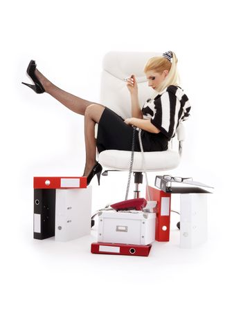 picture of tired businesswoman in chair over white photo