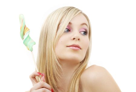 picture of blond girl with big lollipop over white Stock Photo - 2746653