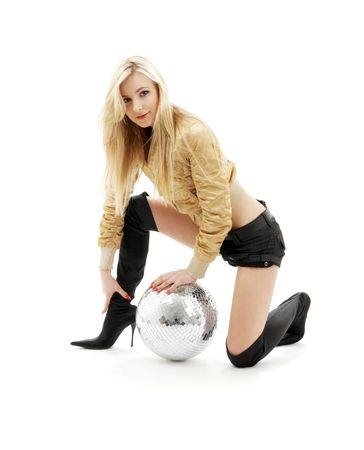 gogo girl: Partei T�nzerin M�dchen goldene Jacke mit Disco-Kugel