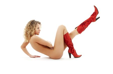 classical artistic nudity picture of naked blonde in red boots Stock Photo - 2785139
