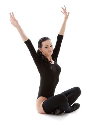 lovely girl in black leotard working out over white Stock Photo - 2817908