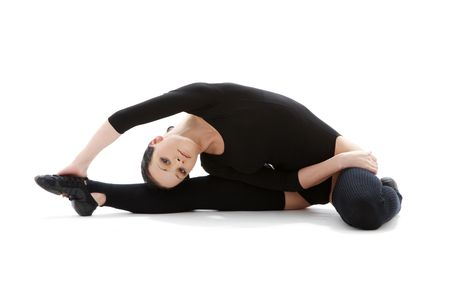 lovely girl in black leotard working out over white Stock Photo - 2833749