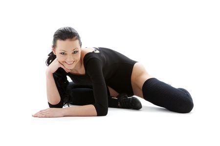legwarmers: sporty girl in black leotard over white