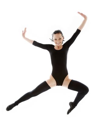 picture of jumping girl in black leotard over white Stock Photo - 2847243