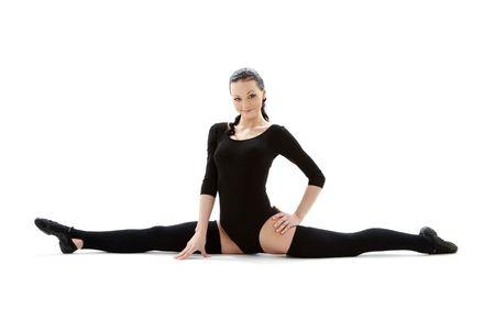 legwarmers: fitness instructor in black leotard over white