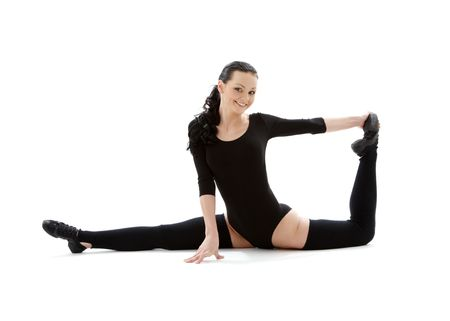 fitness instructor in black leotard over white Stock Photo - 2866656