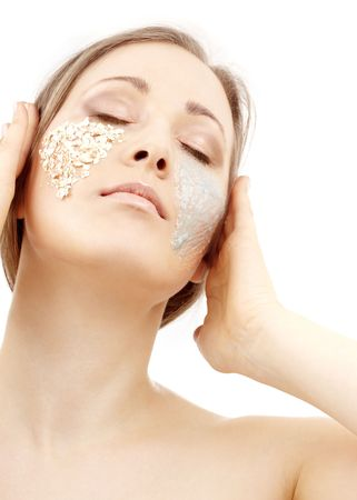 beautiful woman with gel and scrub on face