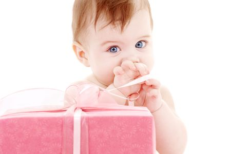 picture of baby boy with big gift box Stock Photo - 3083846