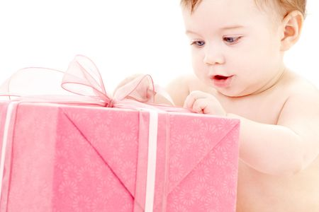 picture of baby boy with big gift box Stock Photo - 3083850