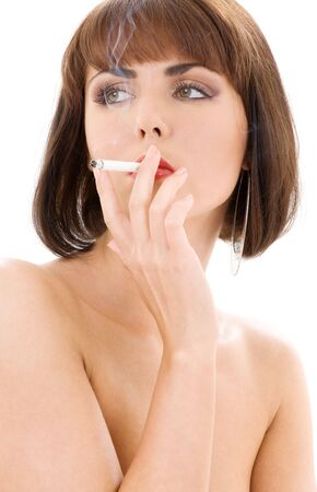 retro style picture of smoking lady with red lips Stock Photo - 3083926