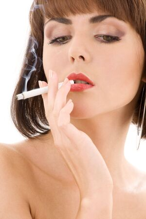 retro style picture of smoking lady with red lips Stock Photo