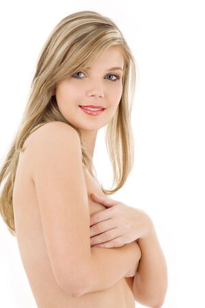 picture of lovely topless blonde over white Stock Photo - 3199775