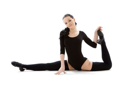 fitness instructor in black leotard over white Stock Photo - 3199811