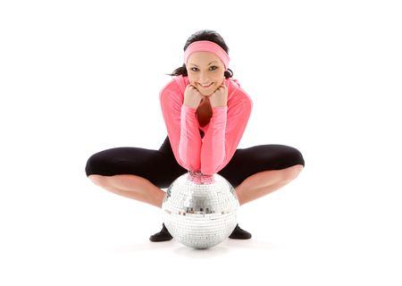 frontlet: picture of dancer girl with glitterball over white