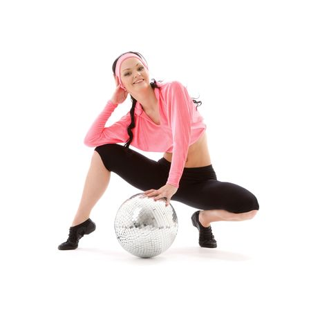 ball stretching: picture of dancer girl with glitterball over white