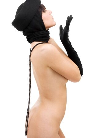 picture of naked woman in black hat and glove Stock Photo - 3199845