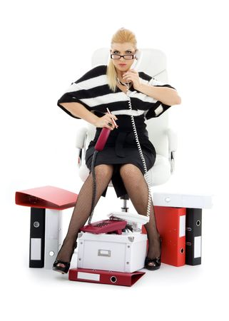 picture of businesswoman in chair over white