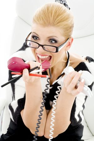closeup picture of screaming businesswoman over white Stock Photo