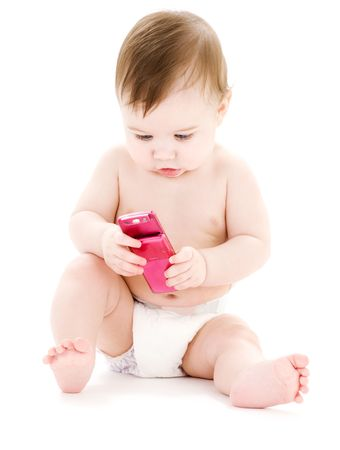 cool gadget: picture of baby boy in diaper with pink cell phone