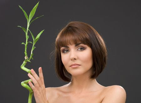 picture of lovely brunette with bamboo over grey Stock Photo - 3199888