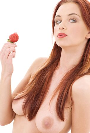 picture of lovely girl with strawberry over white