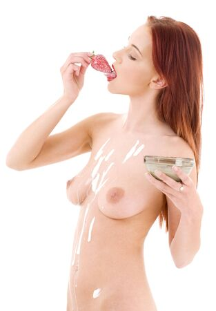 picture of lovely girl with strawberry over white Stock Photo - 3199912