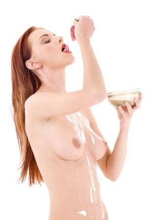imagen de encantadora chica fresa con más de blanco  Foto de archivo - 3199913