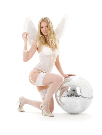 lingerie angel girl with disco ball over white Stock Photo - 3199926
