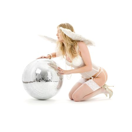 lingerie angel girl with disco ball over white Stock Photo - 3199925