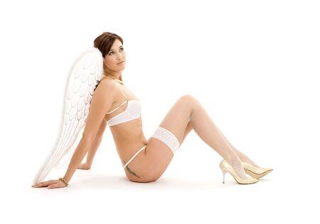 picture of brunette angel girl in white lingerie Stock Photo - 3307638