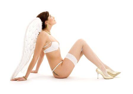 picture of brunette angel girl in white lingerie