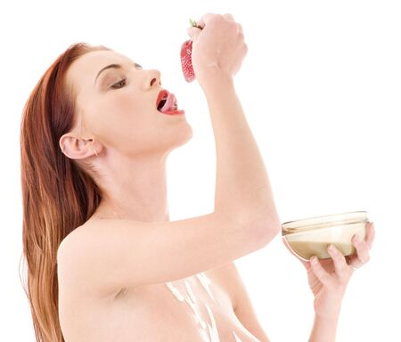 picture of lovely girl with strawberry over white Stock Photo - 3307665