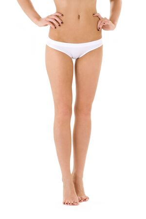 cotton panties: classical picture of long legs in white bikini panties LANG_EVOIMAGES