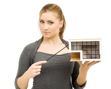 lovely lady with small  model and pointer in hands Stock Photo - 3307714