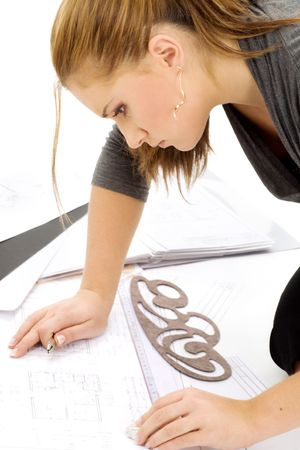 portrait of lovely architect girl at work Stock Photo - 3307717
